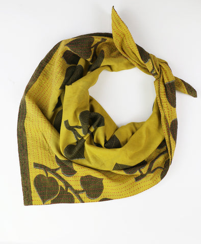 Handmade Cotton Square Scarf - Olive Greenery | Anchal Project