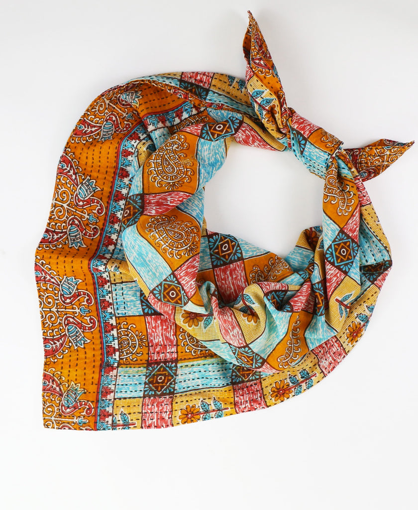 Handmade Cotton Square Scarf - Orange Checkers | Anchal Project