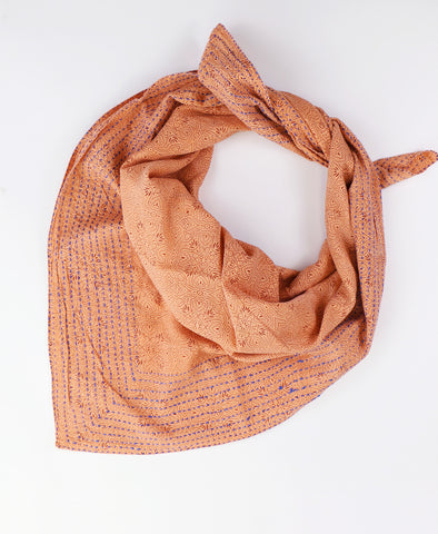 Handmade Cotton Square Scarf - Peach Medallion