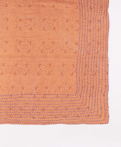 Handmade Cotton Square Scarf - Peach Medallion | Anchal Project