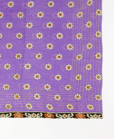 Handmade Cotton Square Scarf - Purple Daisies | Anchal Project