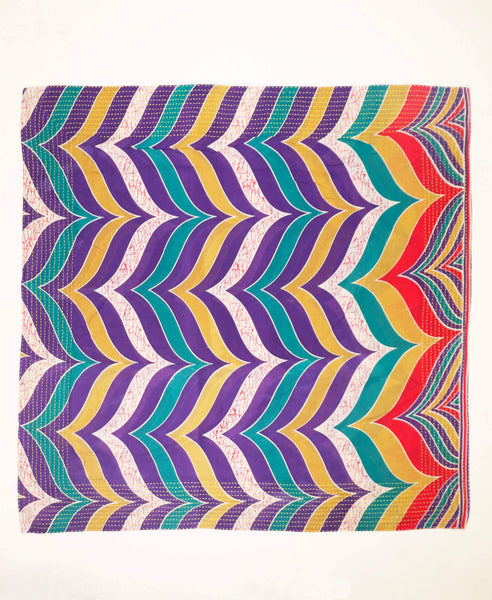 Handmade Cotton Square Scarf - Purple Teal Chevron | Anchal Project