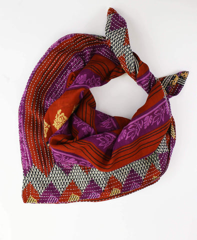 Handmade Cotton Square Scarf - Red Purple Stripes | Anchal Project