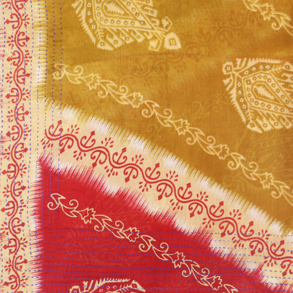 Handmade Cotton Square Scarf - Red and Gold Vines | Anchal Project