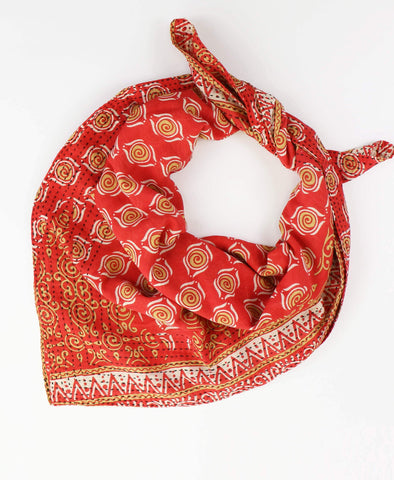 Handmade Cotton Square Scarf - Ruby Swirls | Anchal Project