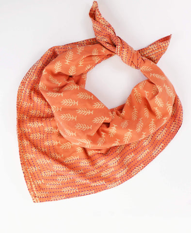 Handmade Cotton Square Scarf - Salmon Leaves | Anchal Project