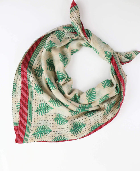 Handmade Cotton Square Scarf - Spring Green Palm | Anchal Project