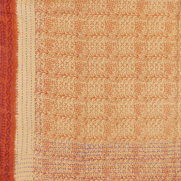 Handmade Cotton Square Scarf - Tangerine Leaves | Anchal Project