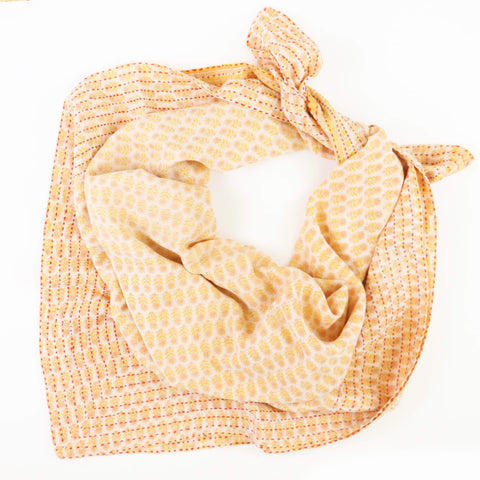 Handmade Cotton Square Scarf - Tiny Orange Flowers | Anchal Project