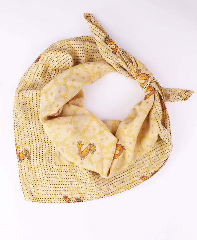 Handmade Cotton Square Scarf - Yellow Peacocks | Anchal Project