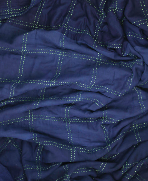 Indigo Overdyed Hand-Stitched Bedding
