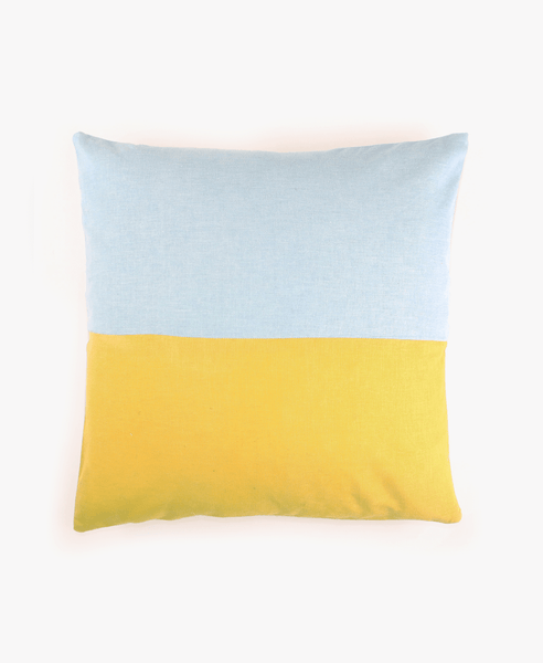 Color Block Accent Pillow - Indigo and Marigold | Anchal Project