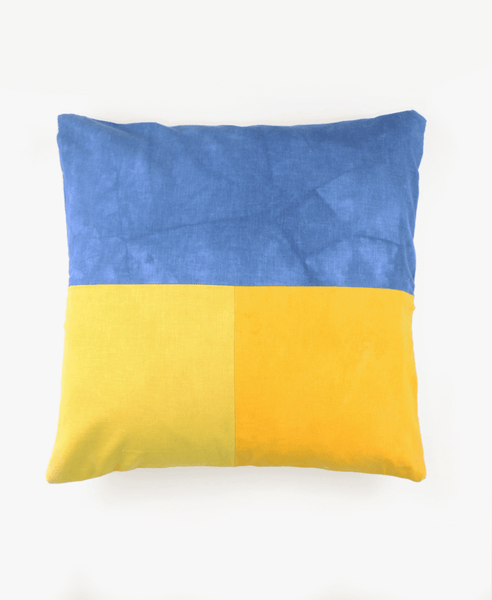 Tri-Color Block Accent Pillow - Indigo and Marigold | Anchal Project