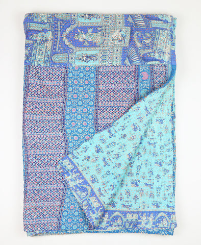 Kantha Throw Quilt - Aqua | Anchal Project