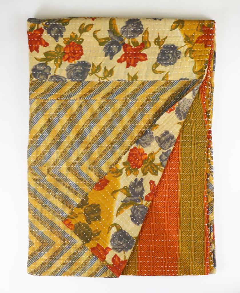 Kantha Throw Quilt - Blue Roses  98be9d8f4ff