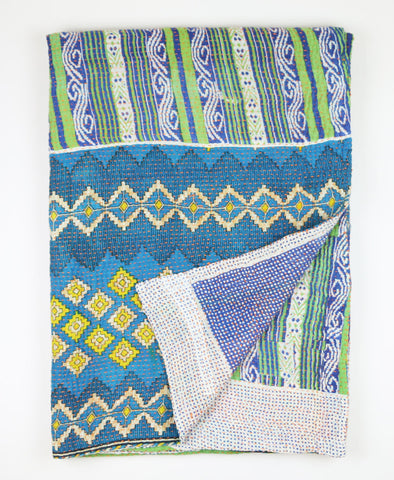 Kantha Throw Quilt - Blue | Anchal Project