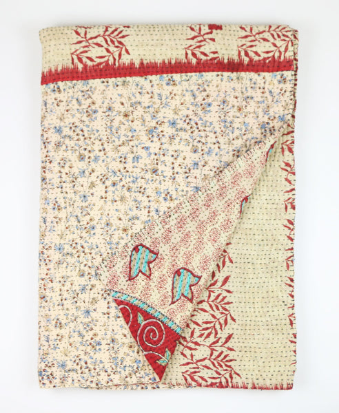 Kantha Throw Quilt - Red and Light Blue Blossoms | Anchal Project