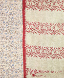 Kantha Throw Quilt - Red and Light Blue Blossoms | Anchal Project | Anchal Project