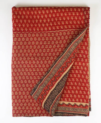 Kantha Throw Quilt - Crimson Daisy | Anchal Project