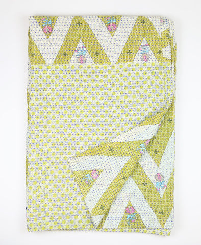 Kantha Throw Quilt - Green | Anchal Project