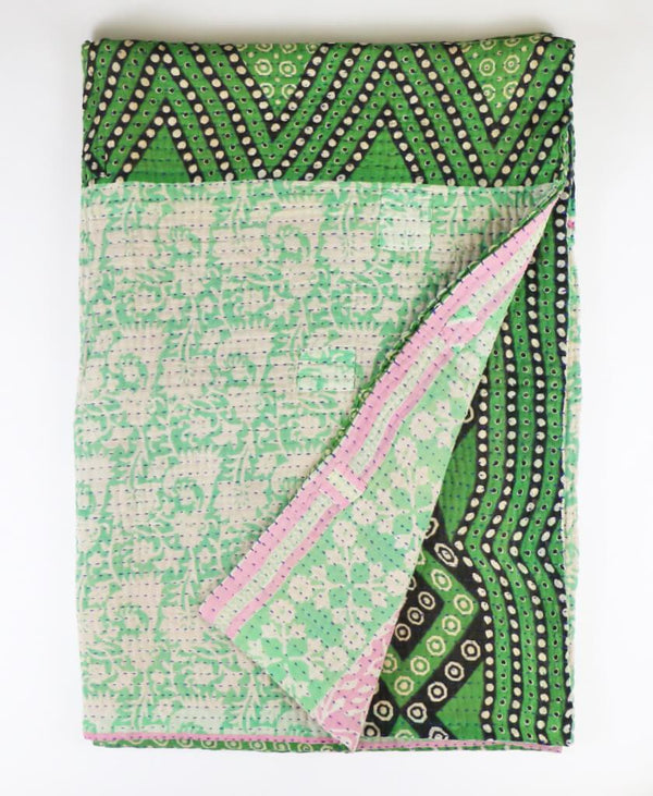 Kantha Throw Quilt - Mint Floral | Anchal Project