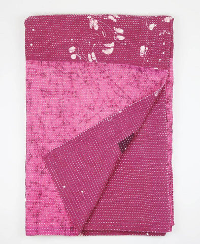 Kantha Throw Quilt - Magenta and White Flower | Anchal Project
