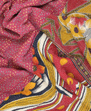 Kantha Throw Quilt - Fuchsia Tropical Flower | Anchal Project