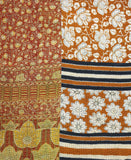 Kantha Throw Quilt - Orange and Red Flowers | Anchal Project