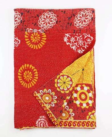 Kantha Throw Quilt - Scarlet Suns | Anchal Project
