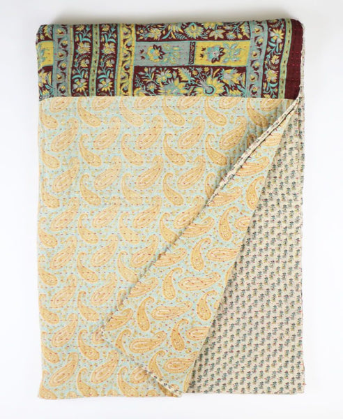 Kantha Throw Quilt - Sky Paisley | Anchal Project