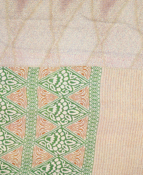 Kantha Throw Quilt - Tan Diamonds | Anchal Project