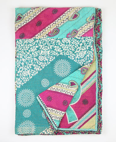 Kantha Throw Quilt - Teal | Anchal Project