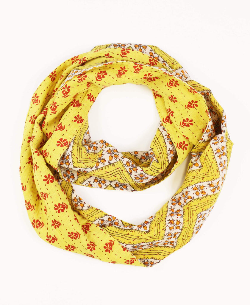 Yellow Paisley infinity scarf lightweight buttery soft cotton