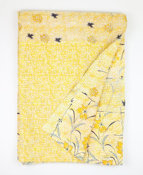 Kantha Throw Quilt - Charcoal and Yellow Wild Flower | Anchal Project