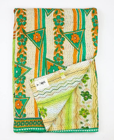 Kantha Throw Quilt - Green Tropical Flowers | Anchal Project