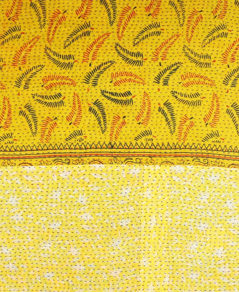 Kantha Throw Quilt - Orange and Yellow Leaf | Anchal Project