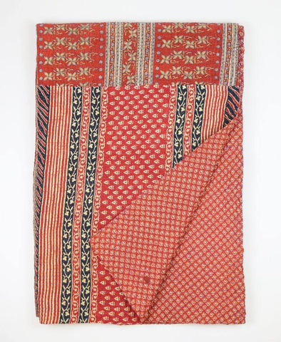 Kantha Throw Quilt - Red and Black Stripe | Anchal Project