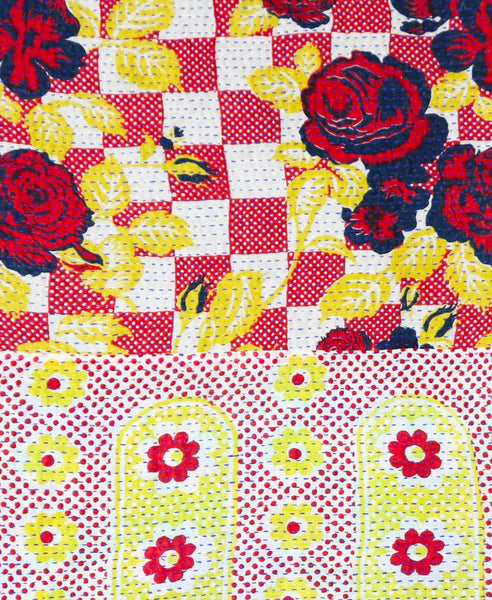 Kantha Throw Quilt - Red and White Checker | Anchal Project