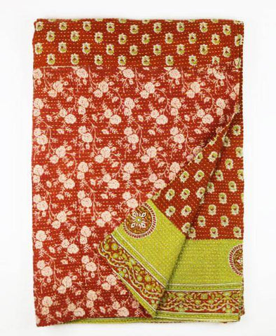 Kantha Throw Quilt - Amber Floral | Anchal Project