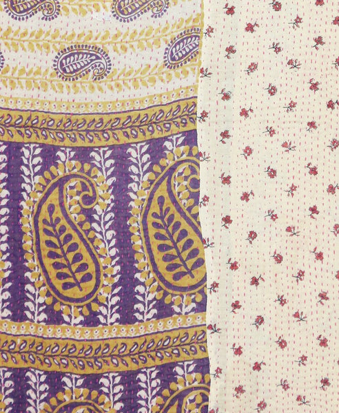 Kantha Throw Quilt - Cream and Purple Paisley | Anchal Project