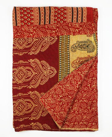 Kantha Throw Quilt - Crimson Paisley | Anchal Project