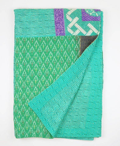 Kantha Throw Quilts - Green and Purple Diamonds | Anchal Project