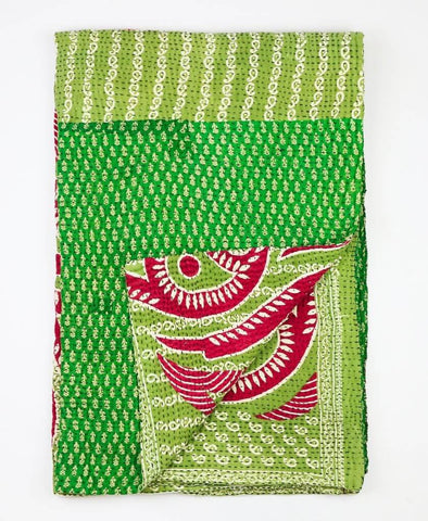 Kantha Throw Quilt - Green and Red Paisley | Anchal Project