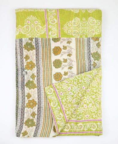 Kantha Throw Quilt - Lime Green Vinery | Anchal Project