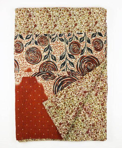 Kantha Throw Quilt - Mahogany Roses | Anchal Project