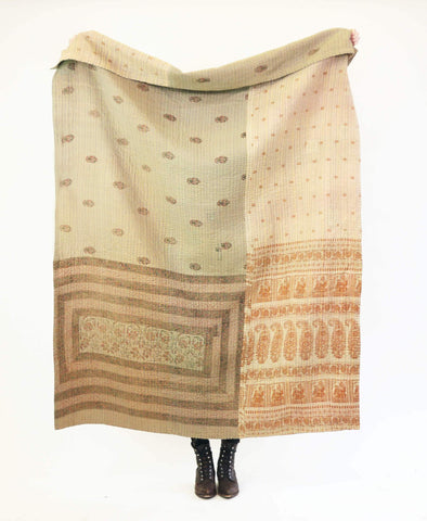 Kantha Throw Quilt - Mauve Floral | Anchal Project