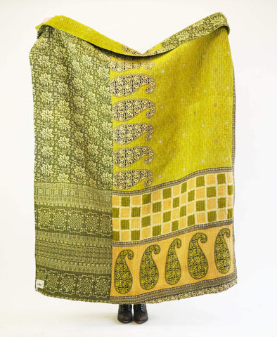 Kantha Throw Quilt - Olive Green Paisley | Anchal Project