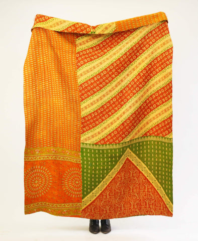 Kantha Throw Quilt - Orange Leaves | Anchal Project
