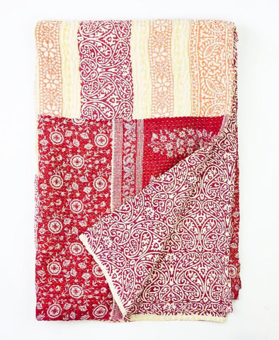 Kantha Throw Quilt - Red and Orange Paisley | Anchal Project