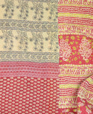 Kantha Throw Quilt - Red and White Fern | Anchal Project